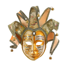art bell UK - C Miracle Gold Volto Resin Music Venetian Jester Mask Full Face Masquerade Bell Joker Wall Decorative Art Collection
