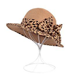 88afb7e6d0c Leopard bow sunscreen straw hat Korean sunshade hat Lady Large Brim Straw Hats  Beach Sun Hats for Women Summer