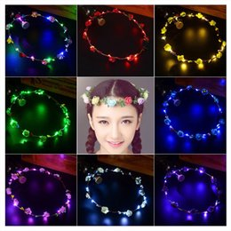 $enCountryForm.capitalKeyWord Australia - 40PCS Girls Luminous Toy Light Up LED Flower Headband Fluorescent Glow In Dark Toy Princess Fairy Crown Wedding Party Hair Accessories