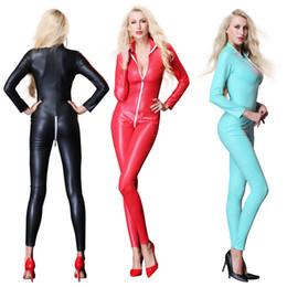 5c6b754f22 Women s Sexy Faux Leather Latex Catsuit Costumes Zipper Cross Crotch For  Clubwear Stripper Halloween Party Fancy Dress