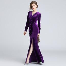$enCountryForm.capitalKeyWord Canada - Maxi Dresses for Party Prom Evening Dress Lady Long Sleeve Vintage Bodycon High Split Cocktail Dresses