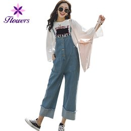 Discount light wash overalls - Cveralls Jeans Women Spring Autumn 2018 New Korean Plus Size Loose Nine Points Wide Leg Pants Casual Slim High Waist Jea