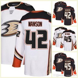 465059e1e New Custom Anaheim Ducks 42 Manson 45 Sami Vatanen 47 Hampus Lindholm 46  Max Jones Blank Hockey Jerseys White Away Home Black