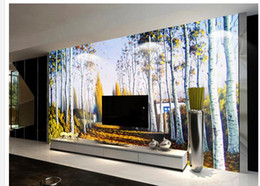 Discount modern house art - HD Stereo Oil Painting Maple Forest Abstract Art TV Background Wall wallpaper for walls 3 d for living room