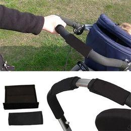 $enCountryForm.capitalKeyWord NZ - 2pcs Pair New Baby Stroller Accessories Carriage Front Handle Pram Black Neoprene Magic Tape Bumper Bar Cover k Arabasi