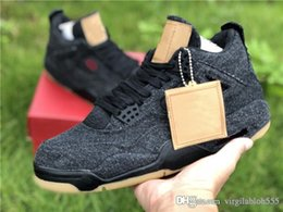 fd000c6ecd4a93 Free Shipping New Release IV 4s High-Top Quality Outdoor Men Sports Shoes  Sneakers 2018 Denim Jeans Black With Shoes Box AQ9103-100