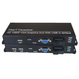 Fiber Dönüştürücü VGA Extender KVM VGA 3.5mm Ses SC 20Km