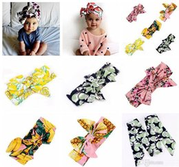 Chinese  ins kids girls Bohemian fruit cotton Headband new good quality baby girl bow flower printed Turban Head Wrap bow Knot Soft hairbands manufacturers
