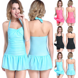 7ad8c764b10 Super large size One piece swimdress woman slimming skirt swimsuits bathing  suits dress lady swimwear candycolor