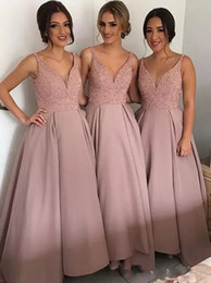 Discount long bohemian prom dresses - Blush Cheap Country Bridesmaid Dresses 2018 V Neck Top Beaded Satin Bohemian Evening Dresses Hi Low Backless Prom Gowns