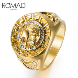 Wholesale Romad Hot Sale Gold Color Ring Men lion pattern Hip Hop Rings for Women Men Vintage Punk Fashion Jewelry bague homme Dropship