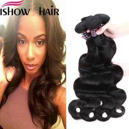 maylasian weft hair 2019 - Peruvian Indian Maylasian Unprocessed Virgin Hair Body Wave Hair 4 Bundles Ishow Top 8A Hair Weave 8-28inch Hot Selling