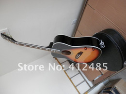 Guitar Electric Acoustic NZ - Wholesale Classic John Lennon 70th J-160E acoustic electric guitar cherry free shipping with case912