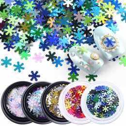 Nail Arts Accessories NZ - 1pcs Snow Flower Mix Color 3D Nail Art Decorations Snowflakes Gold Red Shiny Jewelry Tips Xmas Manicure Accessories SA713