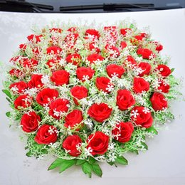 Flowers For wedding car decoration online shopping - Wedding Car Decoration For Artificial Flowers Silk Rose Babysbreath Wedding Party Events Supplies Pink Red Home Living Room