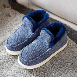 Padded Flooring Canada - Suihyung Winter Men's Cotton-padded Shoes Plush Warm Knit Indoor Shoes Heavy-bottomed Non-slip Home Bedroom Floor Slippers