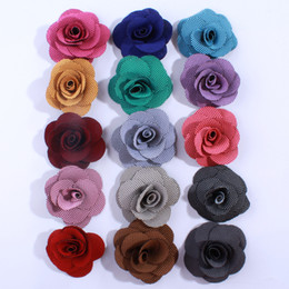 roses for hair 2018 - 120PCS 5.5CM 16 Color For U Pick Small Layerd Burlap Puff Rose Fabric Flowers Bridal Wedding Floral Applique Hair Access