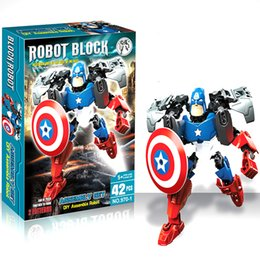 Wholesale New the Avengers super hero building blocks assembly robot building block Superhero Captain America Hulk Children educational diy kids toys