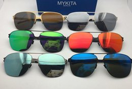 391d23d2eb Fashion mykita sunglasses ultralight frame without screws SCHORSCH goggles  frame men brand designer retro coating mirror lens with case