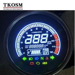 yamaha gear 2019 - TKOSM Universal New Retro Digital Motorcycle LED Speedometer Odometer Trotational Speed Oil Meter Water Temperature 1-6