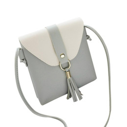 Wholesale Leather Fringe Bags Australia - Fashion women PU leather stitching color fringe Messenger bag shoulder bag ladies bag-style handbag small square #F