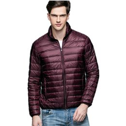 China New arrival simply style solid color casual jacket men stand collar thin white duck down jacket men's clothing size s-3xl supplier dark pink clothing suppliers