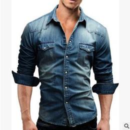 36885bceaabc 2018 Spring Denim Shirt Men Long Sleeves Slim Fit Double Pocket Dress Shirts  Casual Mens Solid Camisa Masculina