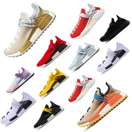 Sun body online shopping - Human Race man Running Shoes for Pharrell Williams Equality Cream Holi Core Blank Canvas Sun Glow Yellow men Sports designer Sneakers