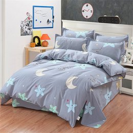 Yellow Gray Moon Star Bedding Set 4pcs Cartoon Bedclothes Boy Girl Student  Kid Bedroom Gift Bed Sheet Duvet Cover Pillowcase Set