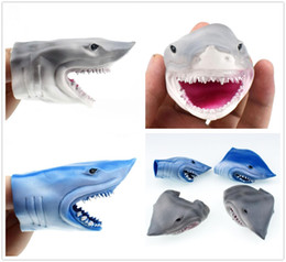 shark decor 2019 - New Wonderful 8cm Mini Shark Head Finger Cover Kids Toys Home Party Performing Lovely Gifts Decor Free Shipping cheap sh