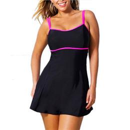 plus size swimdress swimsuit woman 2019 - Summer One Piece Swimsuit Swim Skirt Swimwear Thong Bathing Suit Brazilian Women Swimming Wear Black Vintage Monokini Pl