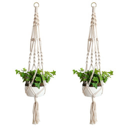 plants hangers Canada - Macrame Plant Hanger Indoor Outdoor Hanging Planter Basket Cotton Rope Home Garden Balcony Decoration 4 Legs 40 Inch