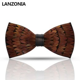 $enCountryForm.capitalKeyWord NZ - Lanzonia Feather Brown Mens Bow Tie Male Fashion Designer Wedding Bowtie Handmade Novelty Unique Cool Neckwear