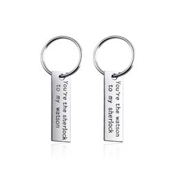 $enCountryForm.capitalKeyWord UK - 8set lot You are the watson to my sherlock engraved charm pendant key chain for lovers jewelry gift