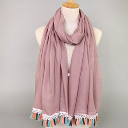 $enCountryForm.capitalKeyWord Australia - women lace tassels cotton viscose plain color bohemian shawls hijab summer muslim long scarves scarf 12 color 180*90cm