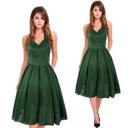 $enCountryForm.capitalKeyWord NZ - Green Ball Gown Short Prom Party Dresses 2018 New Real Photos v Neck Sleeveless Drapped Pleat Knee Length Elegant Evening Dress Cheap Gowns
