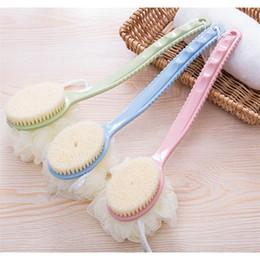 $enCountryForm.capitalKeyWord NZ - 2 In 1 Long Handle Shower Body Brush+Flower Ultra Soft Skin Massage Back Rubbing Cleaner Brush Set Bath Flower Quality drop ship