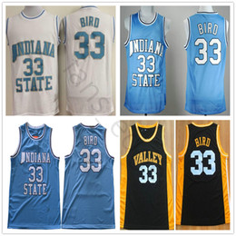 baac1afe6aa NCAA Indiana State Larry Sycamores #33 Bird Blue College Basketball Jerseys  New Valley High School 33 Larry Stitched Black Bird Jersey