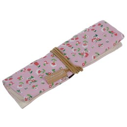 Discount flower cosmetics - Student Stationery Canvas Roll Up Pencil Case Pen Brush Wrap Makeup Cosmetic Bag Pattern:15. Pink Floral Flower Pouch