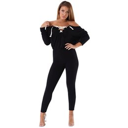 d7f594426a Ladies Black Lace Up Jumpsuits Off the Should Long Sleeve Sexy Club Bodysuit  Overalls Bandage Rompers Womens Jumpsuit Playsuit