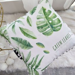 balloons green color NZ - Green Plants Pink Flamingo Cushion Feather Balloons Geometric Nordic Home Decor Sofa Throw Cushion Pillow Living Room Decoration