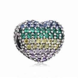703a19edf New Original 925 Sterling Silver Colorful Rainbow Mixture Pave Clear Crystal  Clips Beads Charms Fit Making DIY Charm Bracelets Jewelry