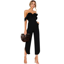 bodycon jumpsuits for women UK - Off Shoulder Sexy Jumpsuits For Women 2017 Summer Bodycon Bodysuits Backless Female Playsuits Ladies Ruffle Romper Body Suits
