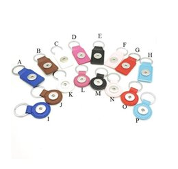 Woman Keychain Leather Canada - Noosa Ginger 18mm Snap Button Keychains Jewelry PU Leather Snap Keychain Various Colors Snap Key chain Key Rings for women men