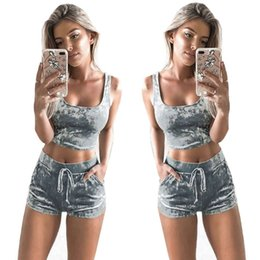 c43f7c438a Women Clothes Tracksuits two piece set crop top and shorts set velvet velour  outfit tank top drawstring track suit sporting fitness clothing