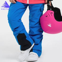 Wholesale- VECTOR Girls Boys Children Ski Pants Warm Winter Waterproof Skiing Snowboarding Pants Winter Kids Child Ski Trousers HXF70011 cheap pink waterproof trousers from pink waterproof trousers suppliers