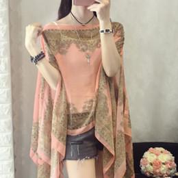 beach shawl sleeves 2018 - 2018 Summer New Women Fashion Shawl Bat Sleeve Chiffon Shirt Vintage Print Blouses Loose Female Kimono Cardigan Beach To