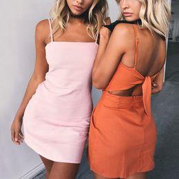6f14d817b5e1 2018 Women Summer Beach Bow Dress Sexy Sleeveless Spaghetti Strap Backless  Dress Slim Fit Bodycon Mini Vestidos