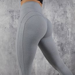 039b6b614 Solid Booty Up Sports Legging Women s Compression M Line Butt Lift Workout  Leggings Hip Push Up Stretch Pants