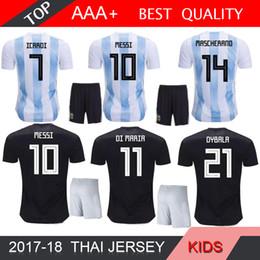 c316ee307 2018 argentina world cup messi dybala argentina kids kit home away soccer  jersey aguero di maria
